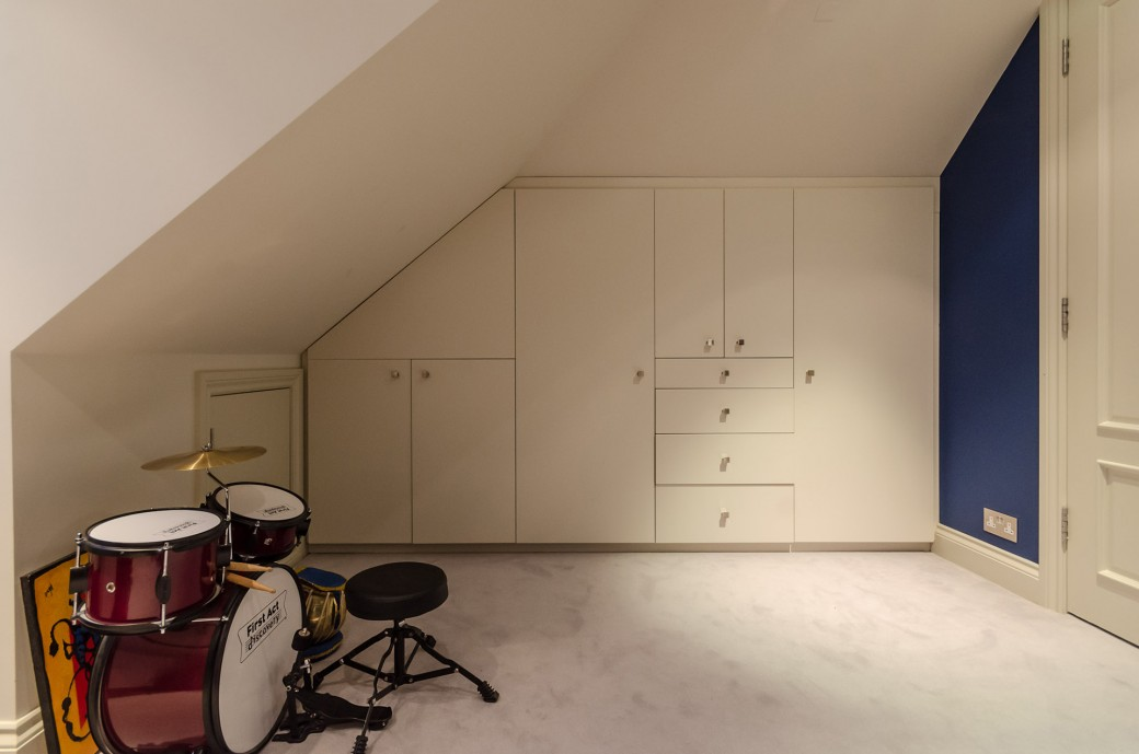 Built in wardrobes in the loft extension