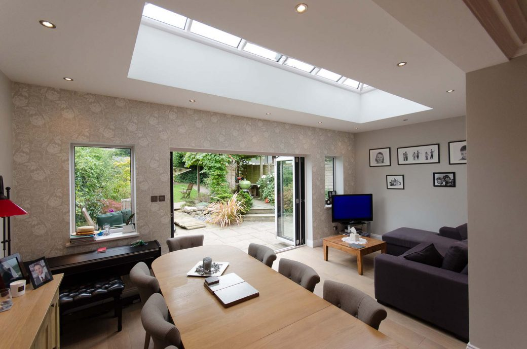 The living space with glazed roof