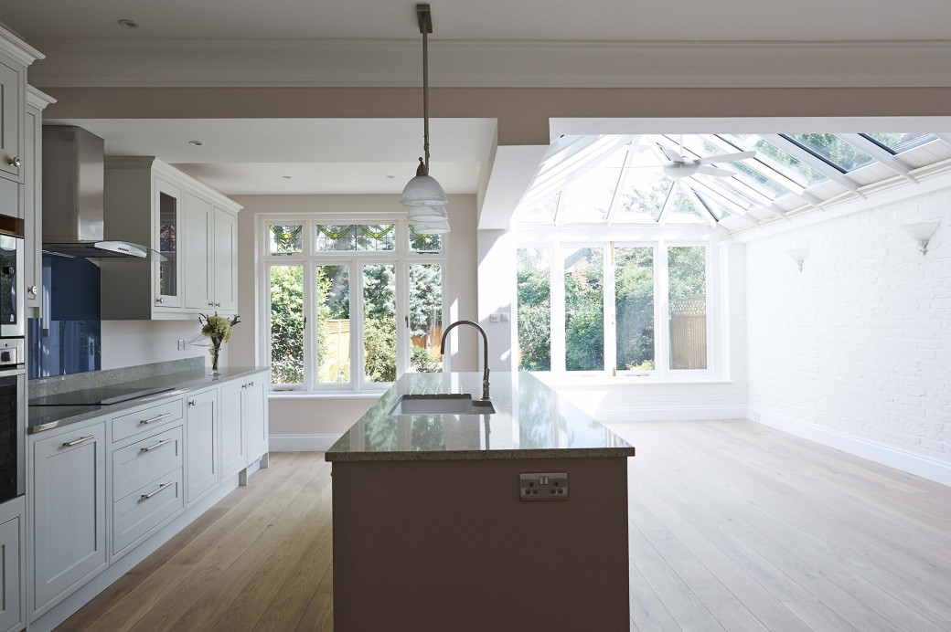 Open plan kitchen, conservatory & dining room