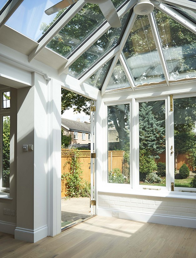 The light from the conservatory carries into the kitchen