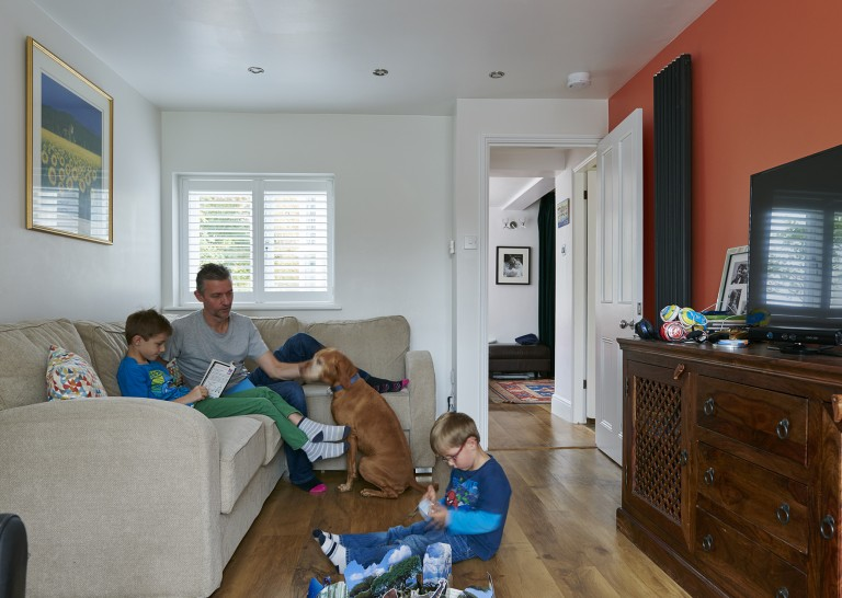 The Barclay Family enjoying their functional living space