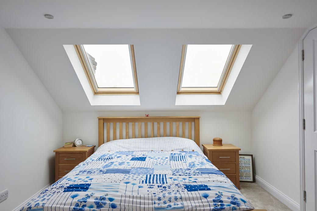 The skylights make the room bright
