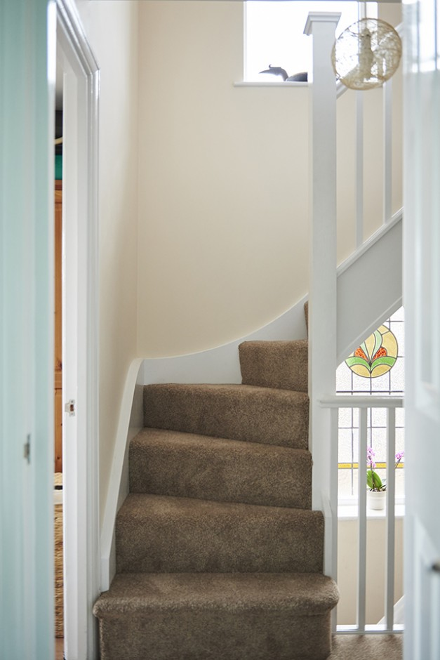 The stairs up to the new master bedroom
