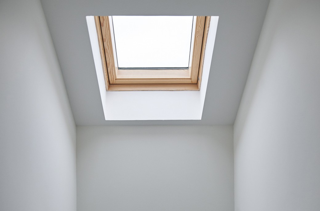 The skylight above the stairs