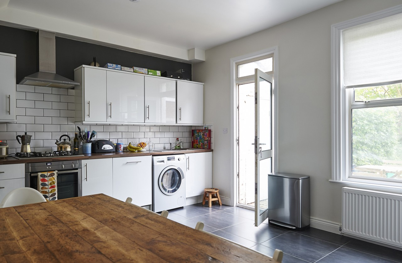 The Ealing property's kitchen was completely refurbished