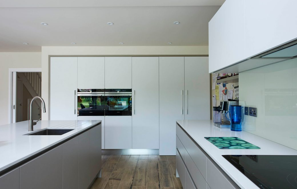 A clean white finished kitchen
