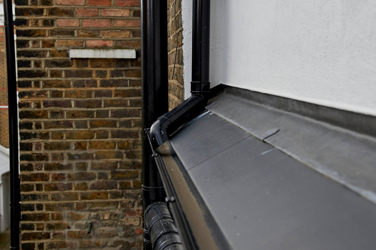 Exterior detail of guttering and leading