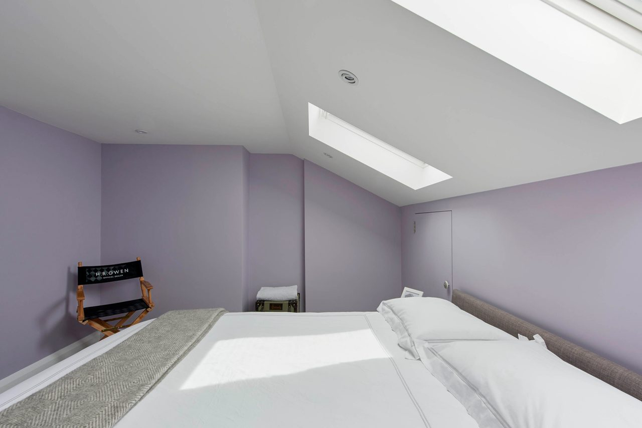 Skylights in newly refurbished bedroom suite