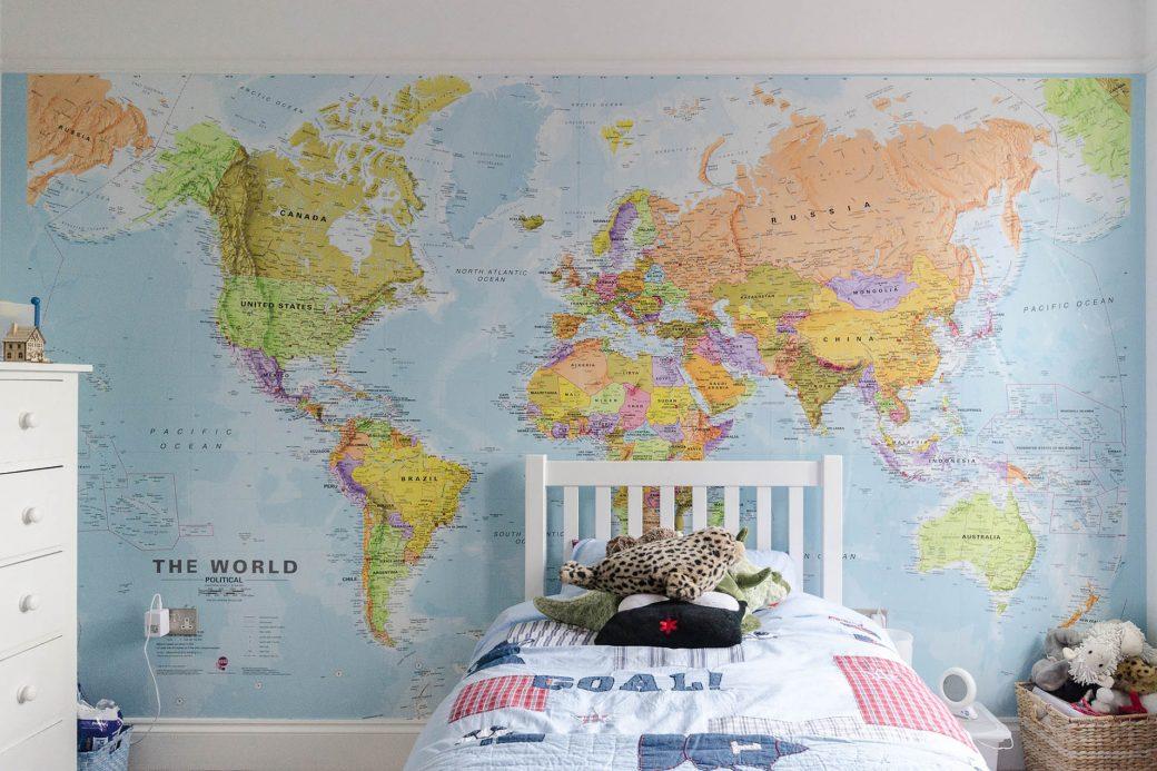 Bedroom with atlas wallpaper