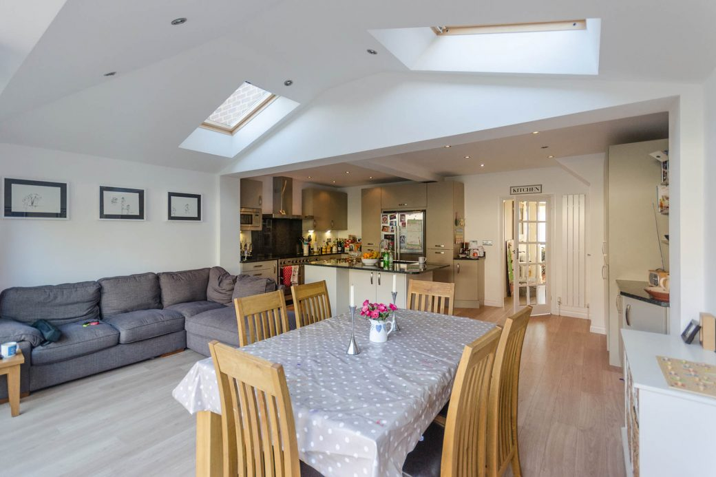 The light and spacious kitchen diner with skylights