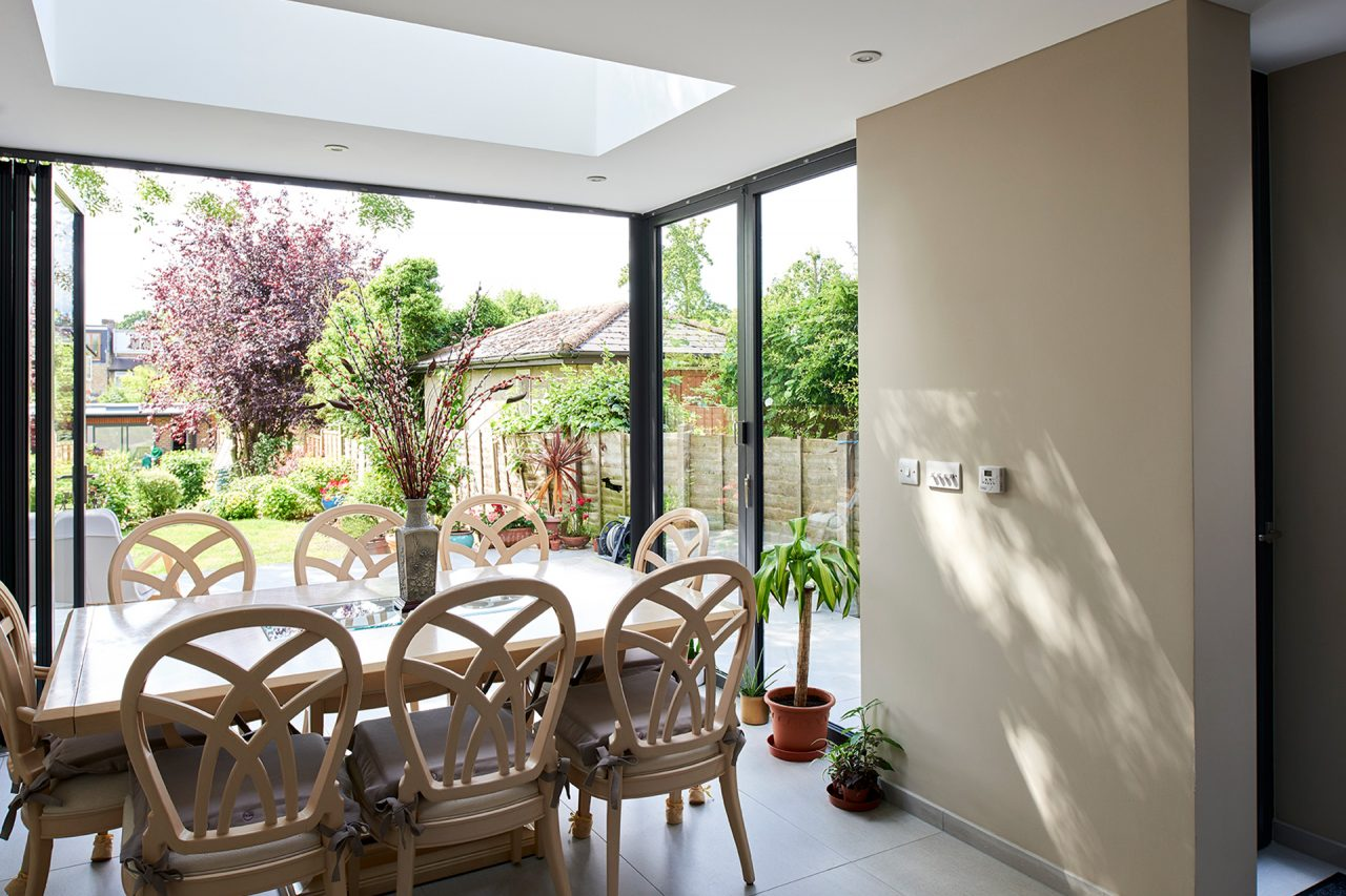Dining table looking out onto garden