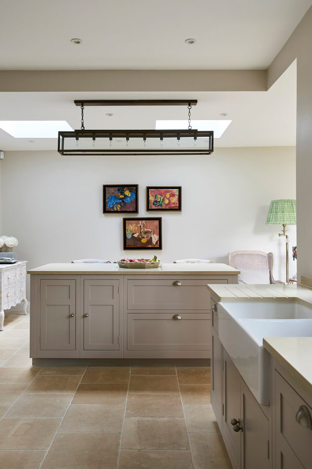 Kitchen island and double Belfast sink