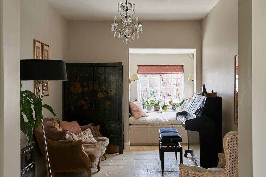 Antique wardrobe, piano and window seat