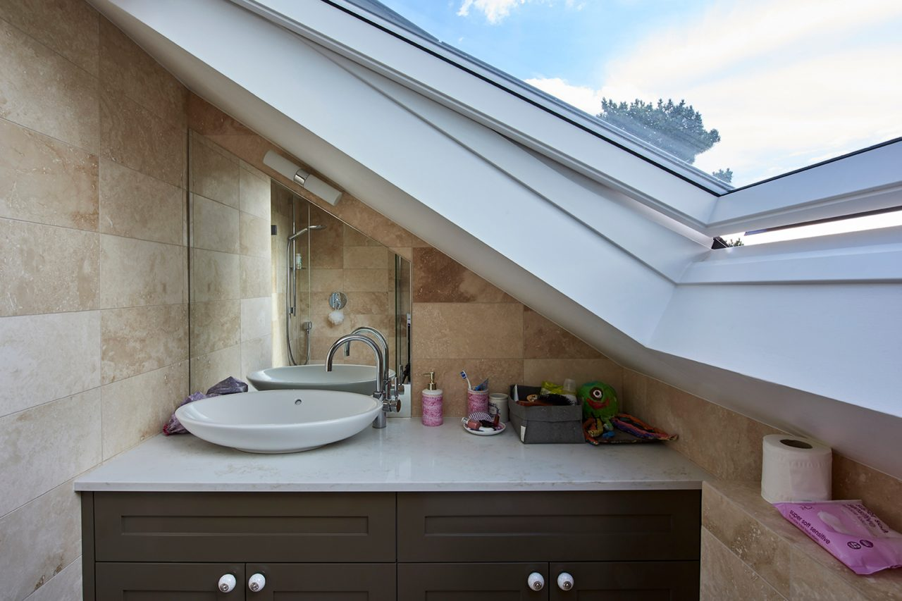 Large skylight in bathroom