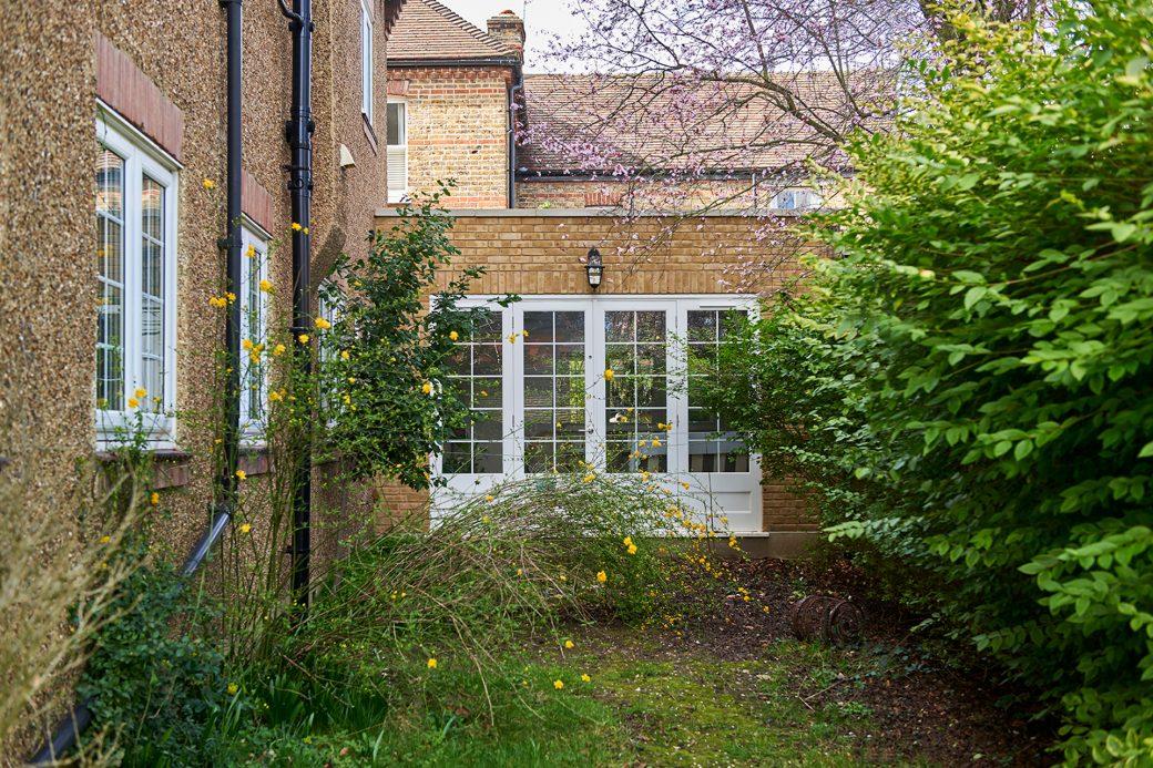 Flowering garden and patio doors
