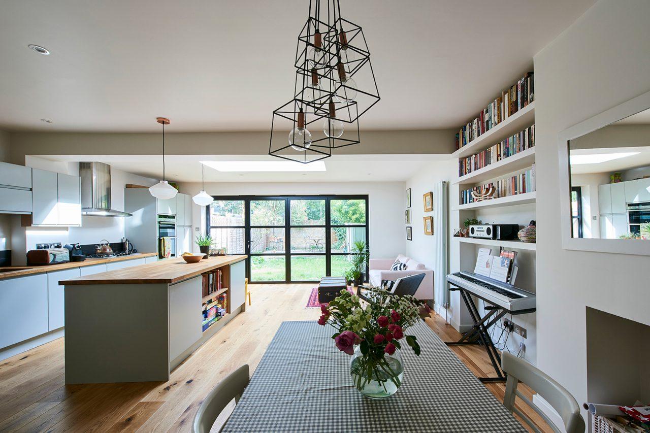 Kitchen Extension with bookshelf