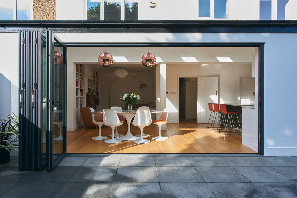 Kitchen diner extension with wood flooring