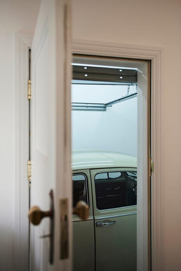 Volkswagen Beetle showing through garage door