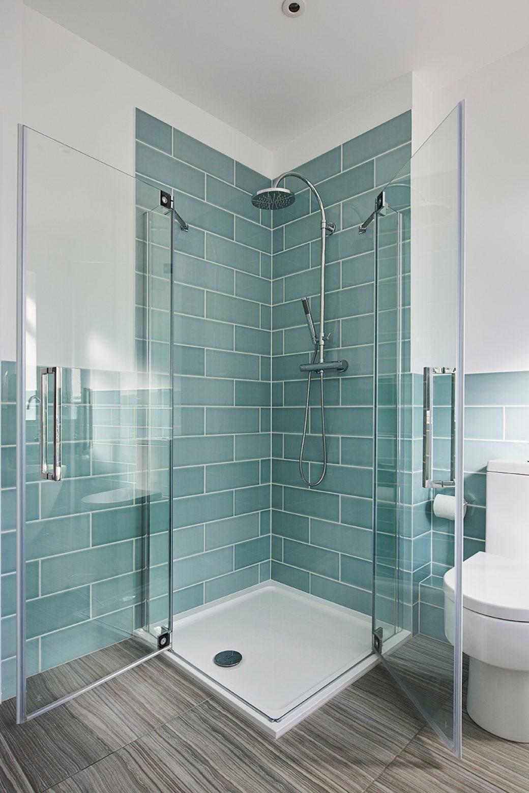Azure blue tiles in bathroom