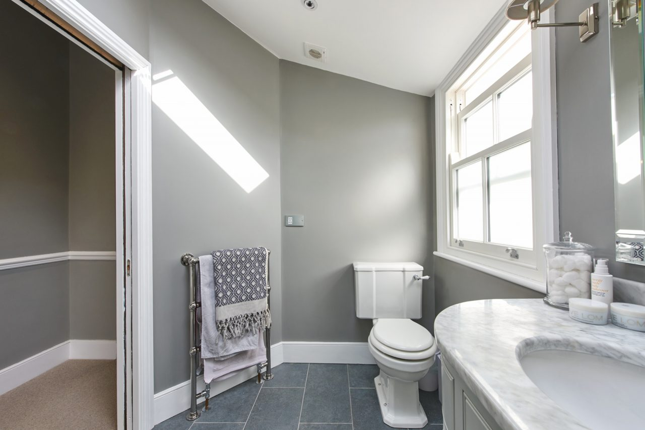 Toilet in refurbished bathroom