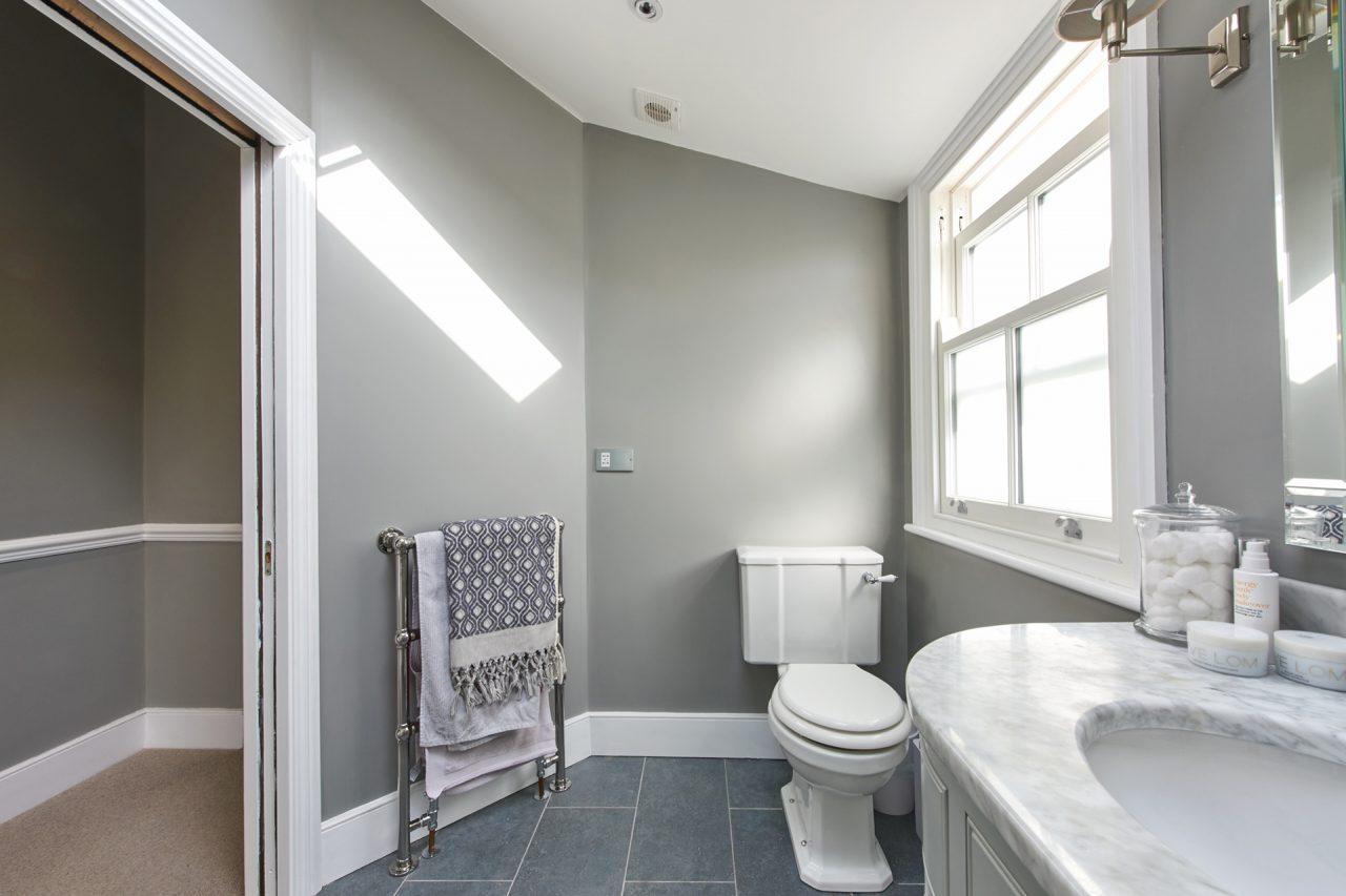 Toilet in refurbished bathroom