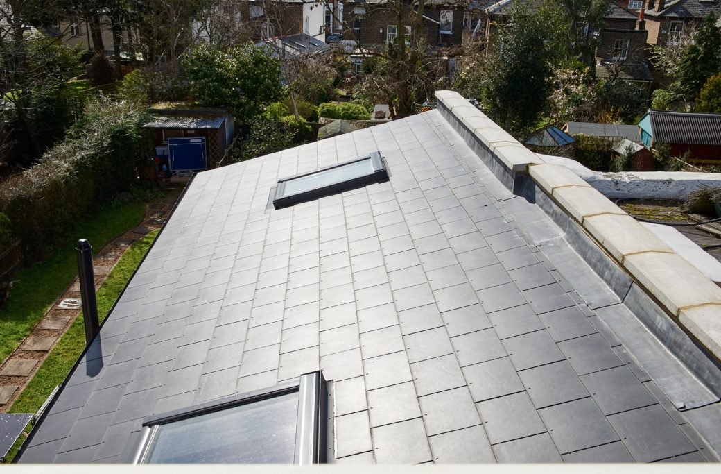 Roof of extension with skylights