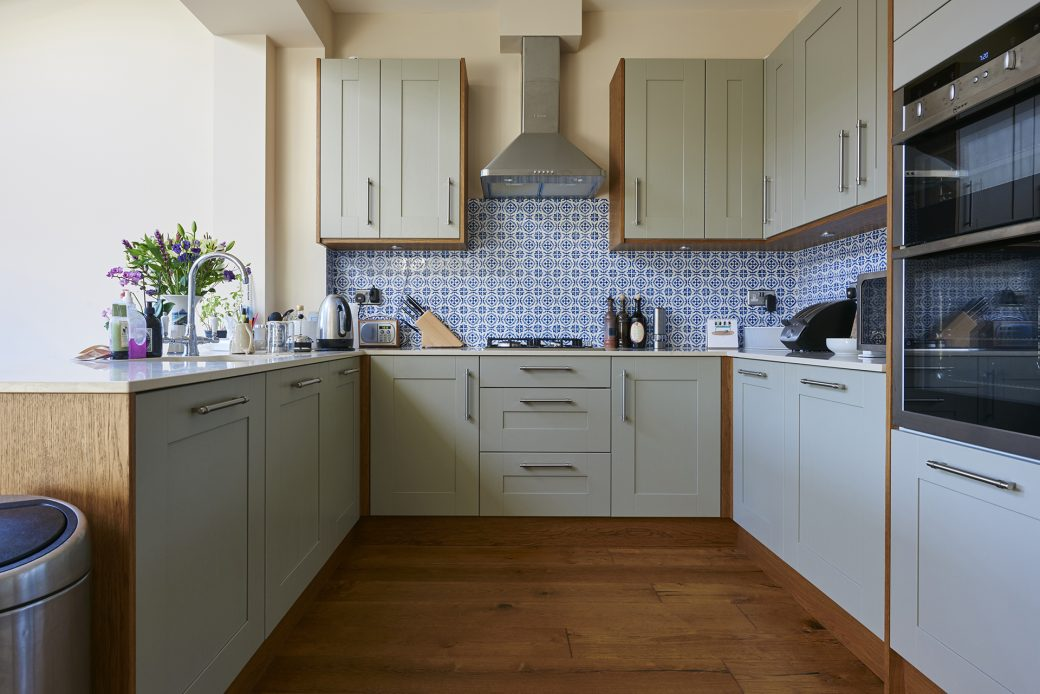 Kitchen with patterned tiles